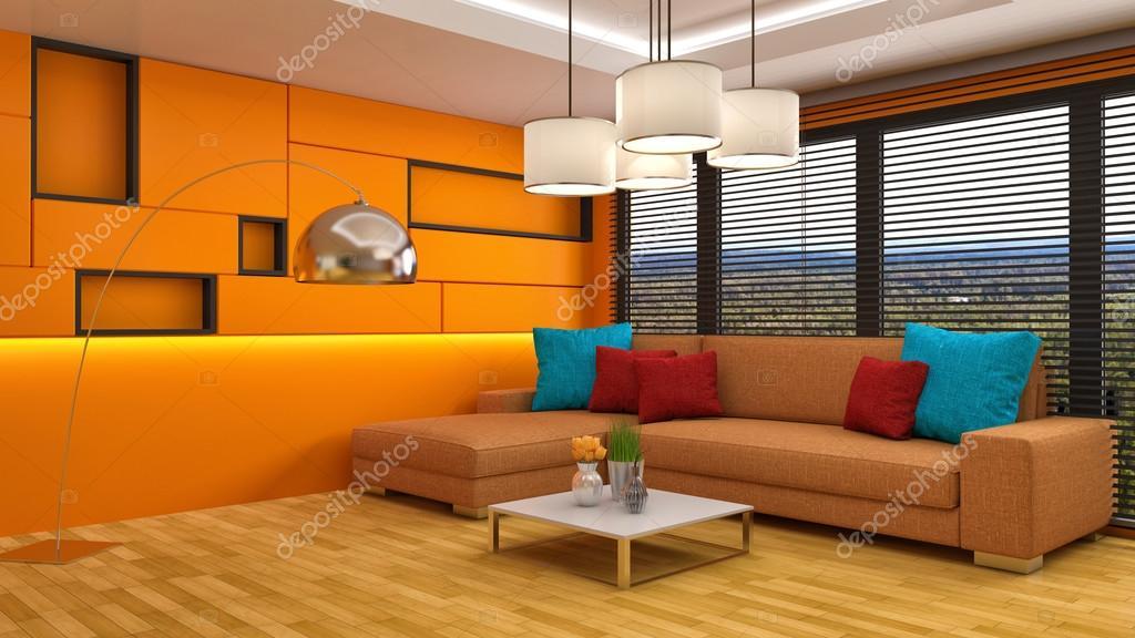 interieur met oranje Bank. 3D illustratie — Stockfoto ...