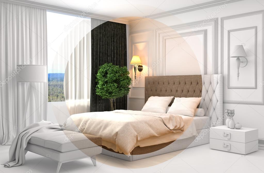 Gaas Het Interieur : Slaapkamer interieur met cad draadframe gaas. 3d illustratie