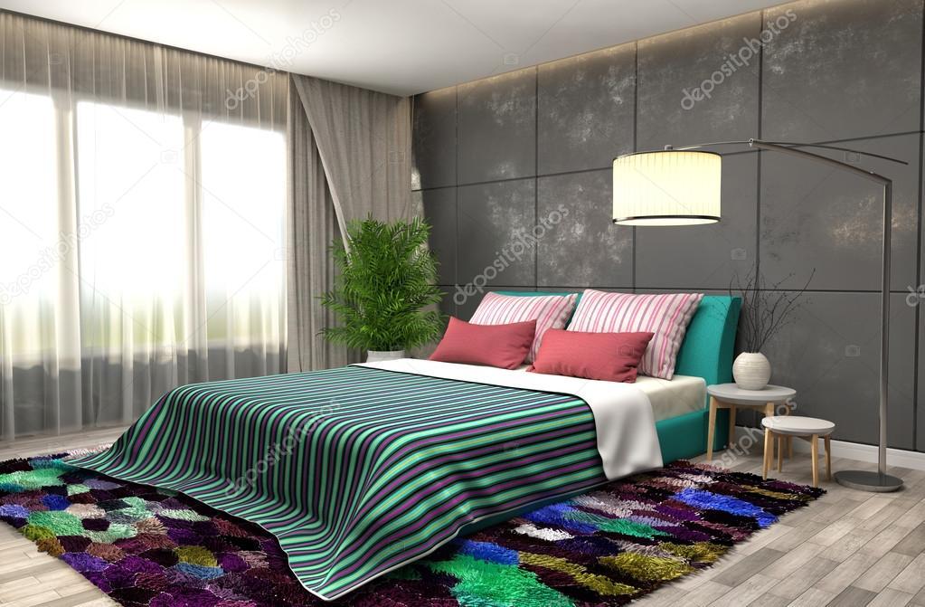 Interno camera da letto illustrazione 3d foto stock for Camera letto 3d