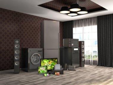 Home appliances. Gas cooker, tv cinema, refrigerator, microwave,