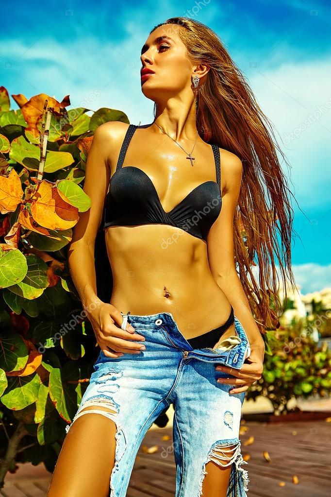 Sexy stylish hot beautiful young blond fashion woman model
