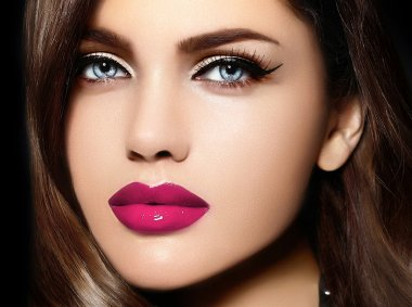 High fashion look.glamor closeup portrait of beautiful sexy stylish Caucasian young woman model with bright makeup, with pink lips,  with perfect clean skin