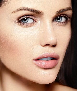 High fashion look.glamor closeup beauty portrait of beautiful   Caucasian young woman model with no makeup  with perfect clean skin