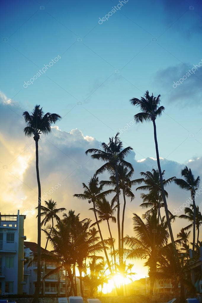 Beautiful sunset at a beach resort in the tropics