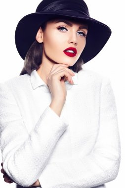 High fashion look.glamor closeup portrait of beautiful sexy stylish brunette business young woman model in white coat jacket hipster cloth