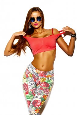 Funny crazy glamor stylish sexy smiling beautiful young sport woman model in summer bright hipster cloth with big tits