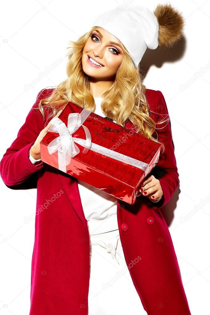 Portrait der schönen glücklich süß lächelnde Mädchen blonde Frau in ...