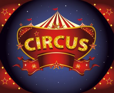 A circus sign in the night for your entertainment stock vector