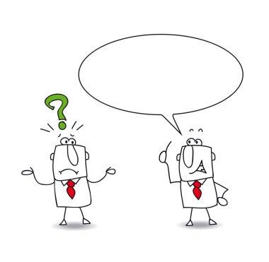 Businessman ask a question