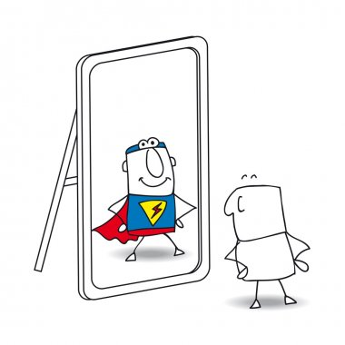 Superhero  looks in the mirror.