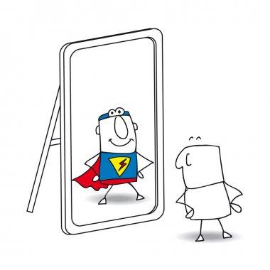 Superhero  looks in the mirror.