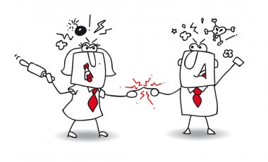 Fight between business people