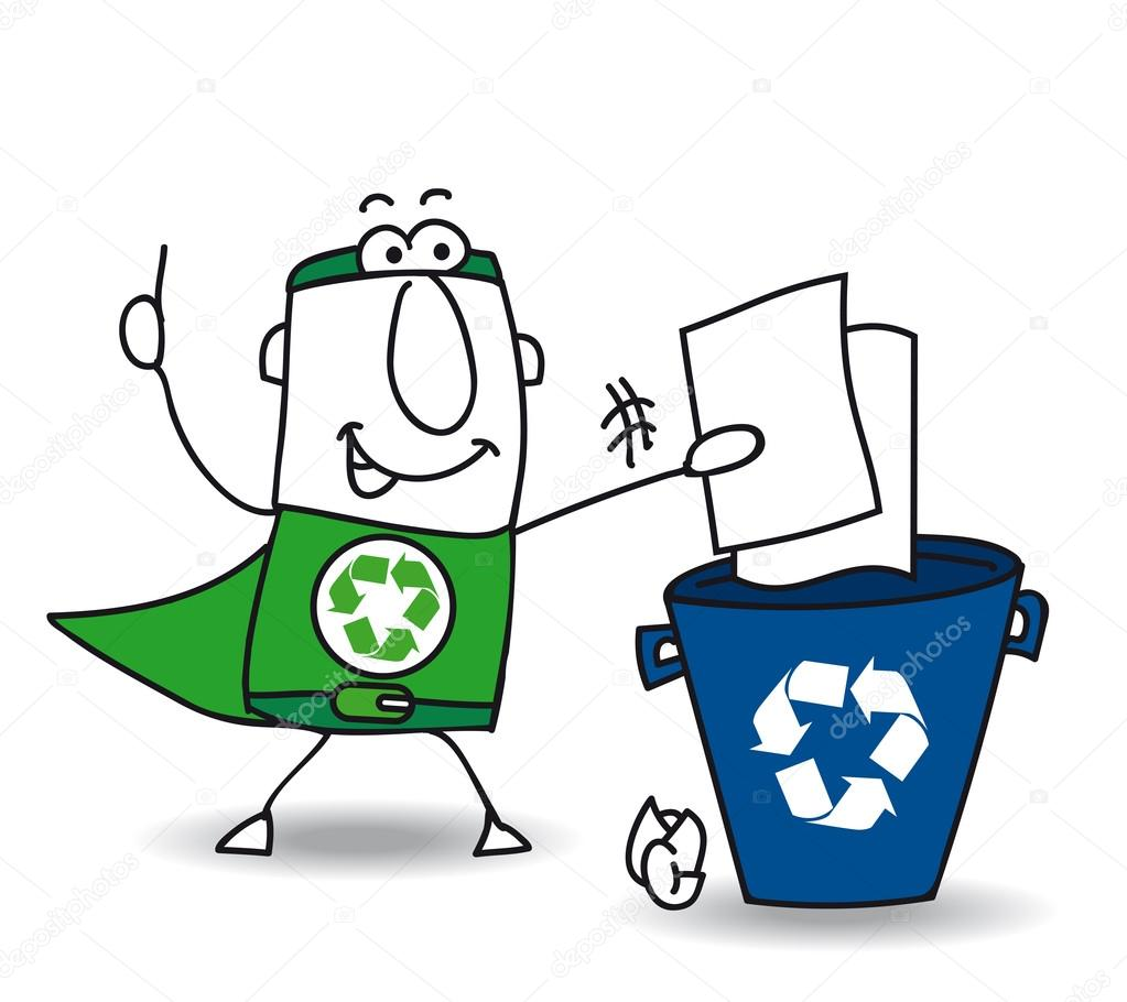 Superhero Recycling the paper