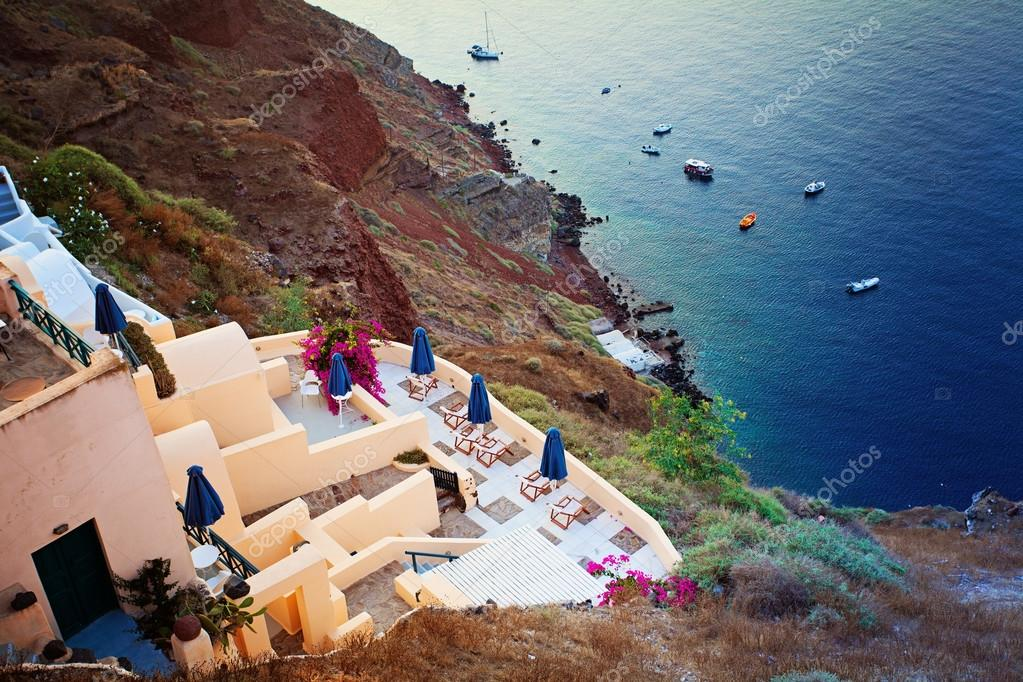 Greek Villa in Oia Town and Sea, Santorini Island, Greece