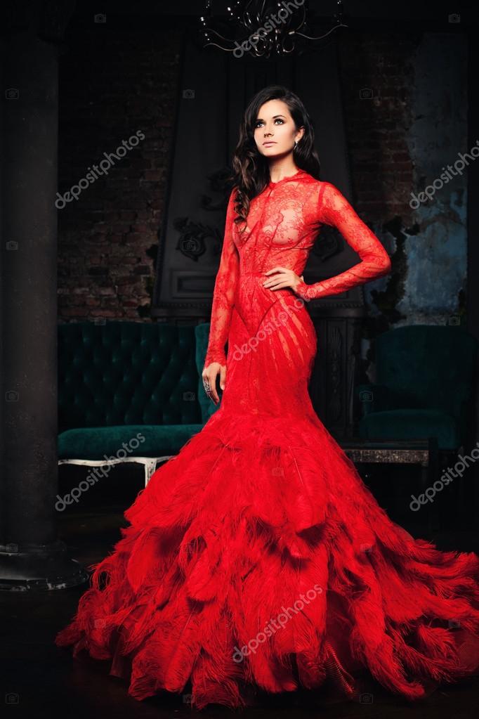 db0d9c9f18 Divat nő estélyi ruha, Retro belső — Stock Fotó © MillaFedotova ...
