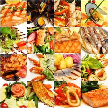 Food Collage. Gourmet Restaurant Fish and Seafood Background