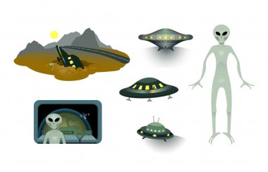 Aliens and flying saucers set.