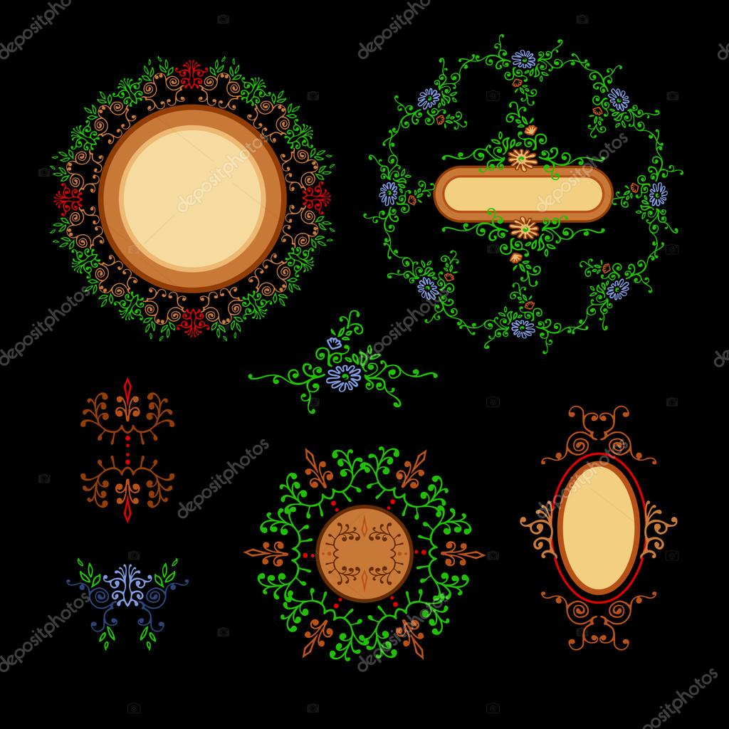 Set ornaments round and oval with place for text. Elements of the ornament.