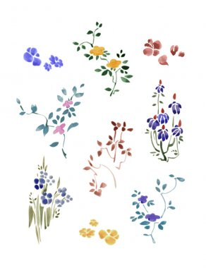 A set of small flowers watercolor with leaves. Flax Flowers.
