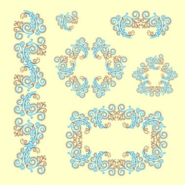 Set of ornaments. Decorated frame. Frosty pattern.