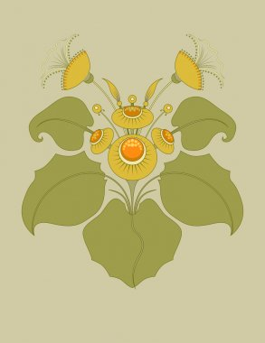 Bush of the coltsfoot. Ornamental plants stylization. Coltsfoot in green gamma. Registration for the pharmacy theme.