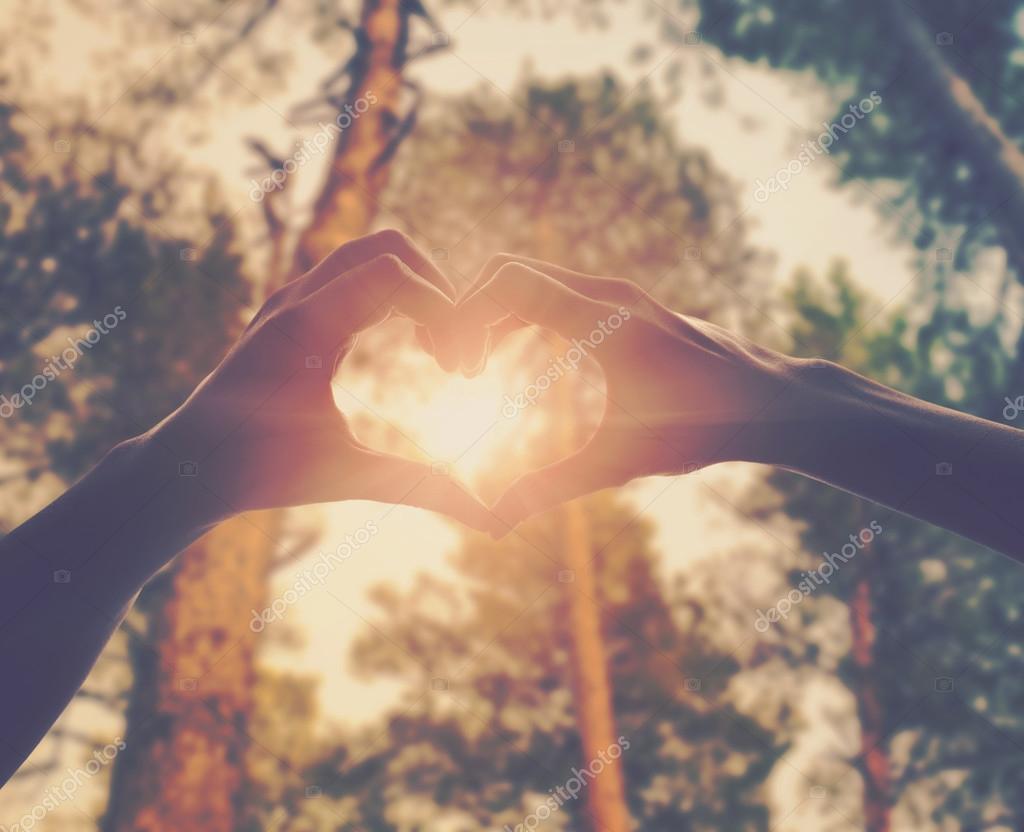 Hands in shape of love heart stock vector