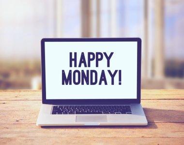 Laptop with happy Monday wish