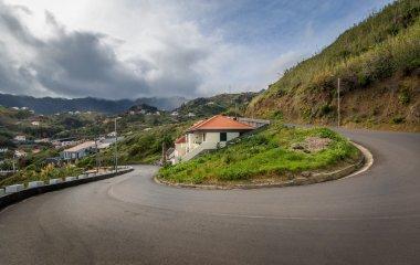 Serpentine mountain road 180 degree turn. Baeutiful and dangerous roads of Montenegro island