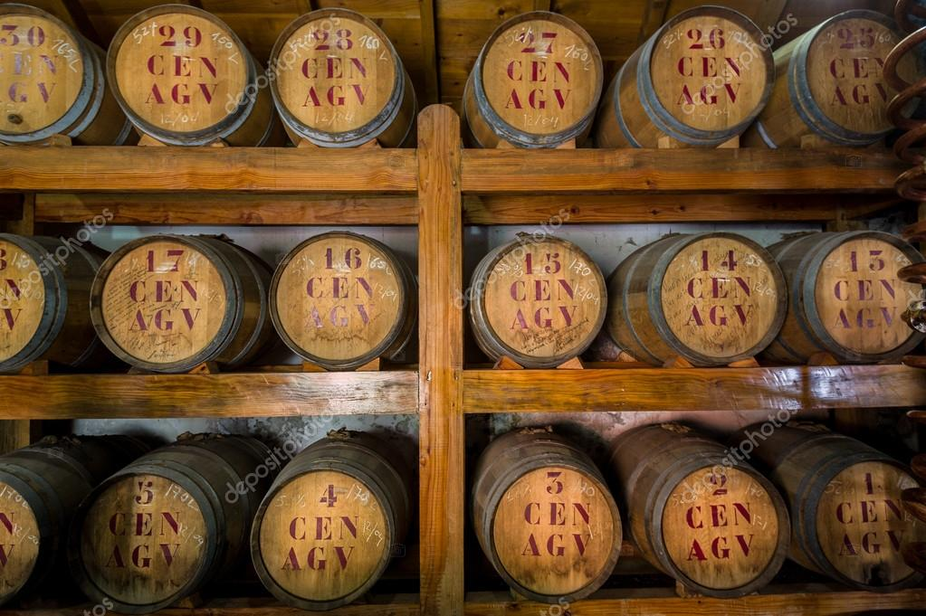 Rum Wooden Barrels At Storage Room U2014 Stock Photo