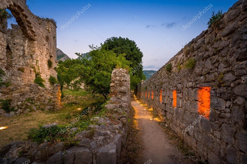 Old Bar fortress walls night lightning. — Stock Photo © Steffus ...