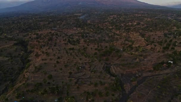 Drone Over Landscape To Mount Agung