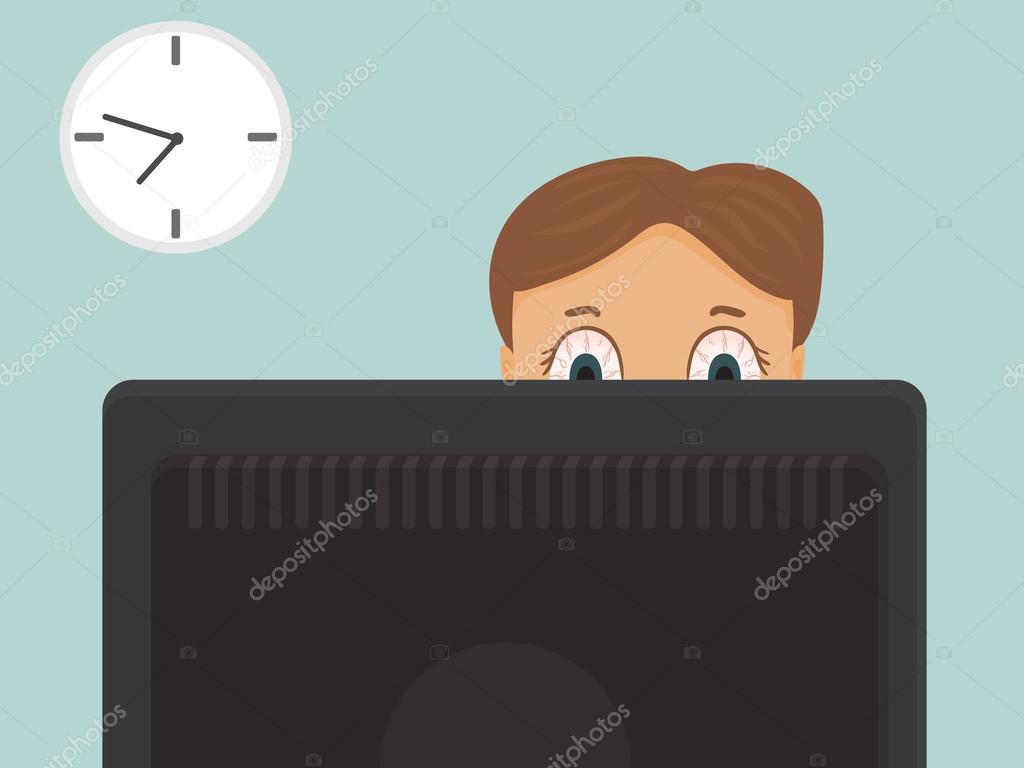 Lavoro Ufficio Clipart : Duro lavoro dell uomo d affari con gli occhi rossi in ufficio