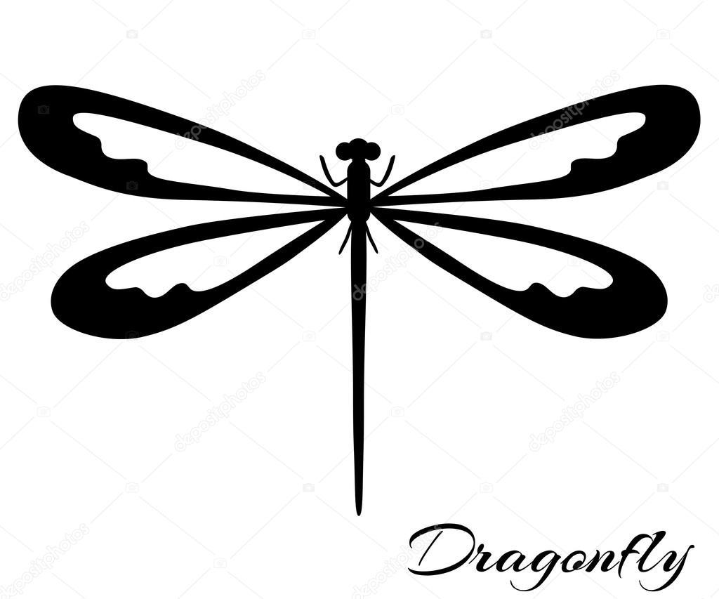 libélula negra y blanca — Archivo Imágenes Vectoriales ...