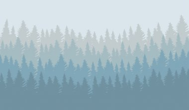 Vector illustration of wild coniferous forest