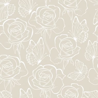 Seamless pattern with flowers and butterfly . Floral ornament.and-drawn contour lines and strokes. Wedding background.