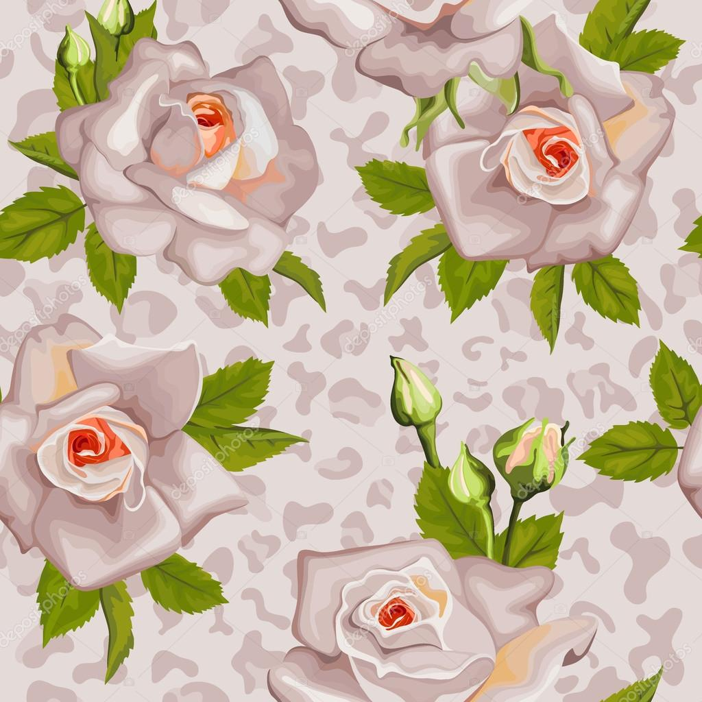 Seamless pattern with animal print and  roses with leaves.