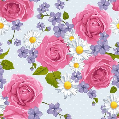 Seamless wallpaper pattern with roses and other flowers on design background, vector illustration.