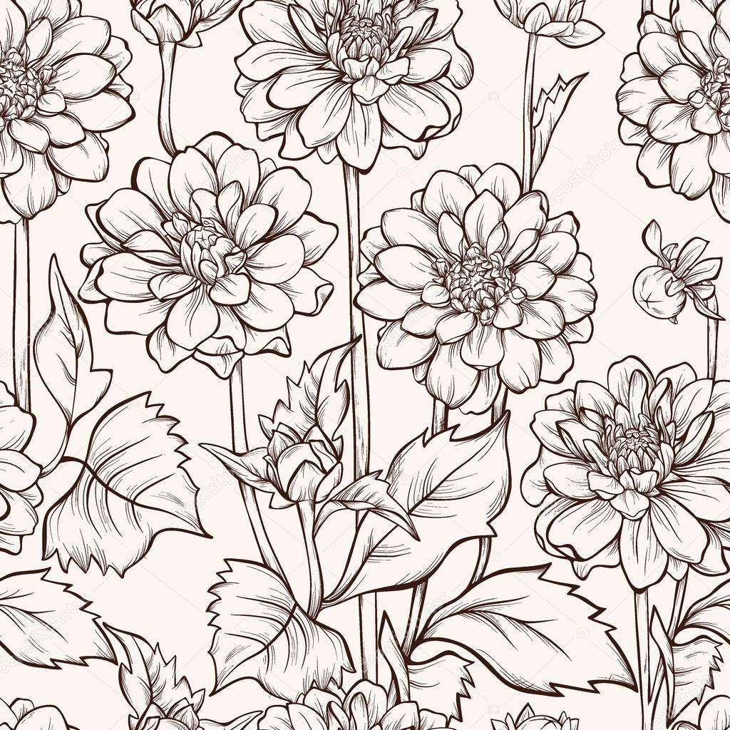 Seamless pattern with blooming dahlia flowers and flying butterfly