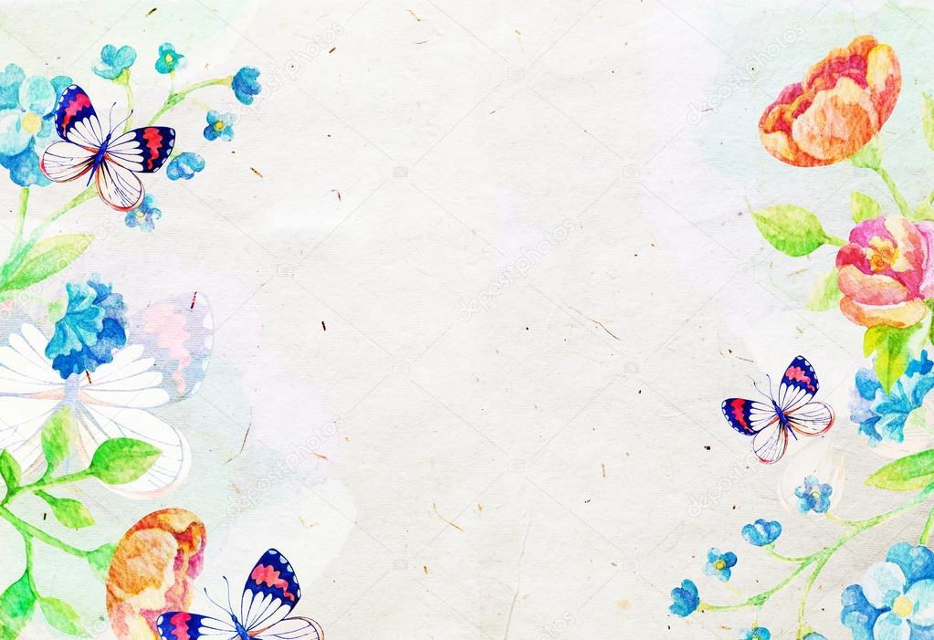 Sfondo acquerello con fiori e farfalle foto stock for Sfondi con farfalle