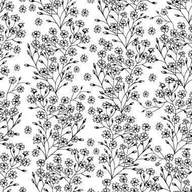 Black and white seamless pattern with flowers