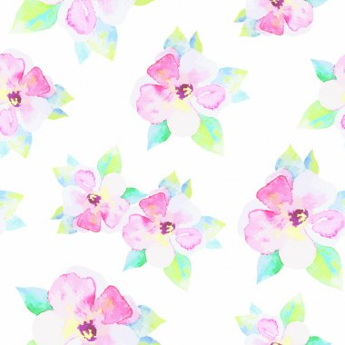 Pattern with beautiful watercolor flowers