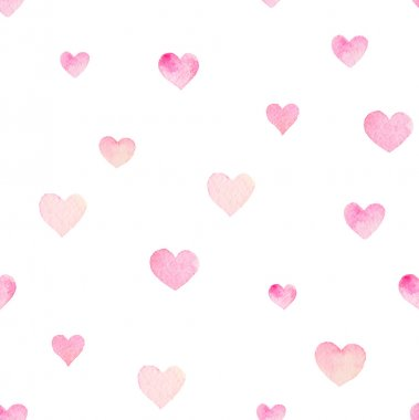 Watercolor seamless pattern with hearts