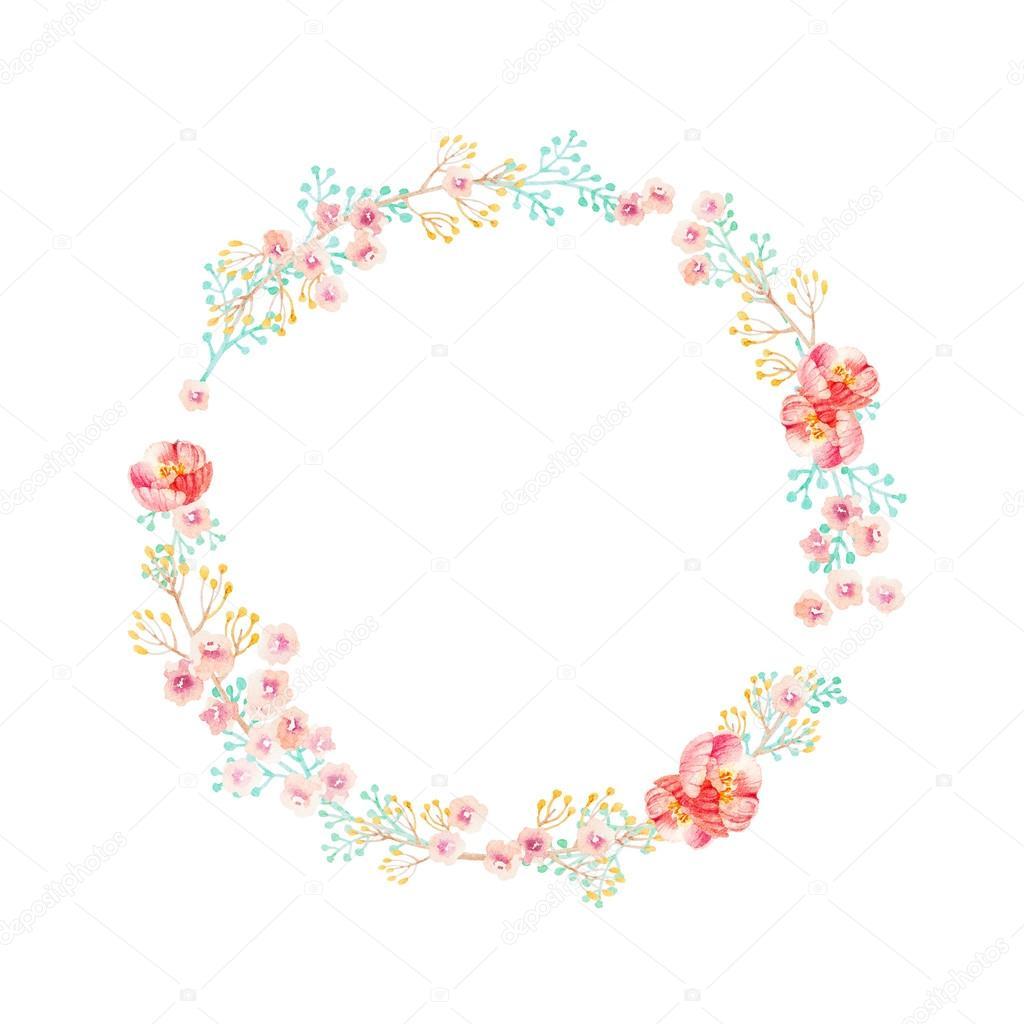 Dessiné De Main Couronne De Fleur Aquarelle Photographie Lemuana