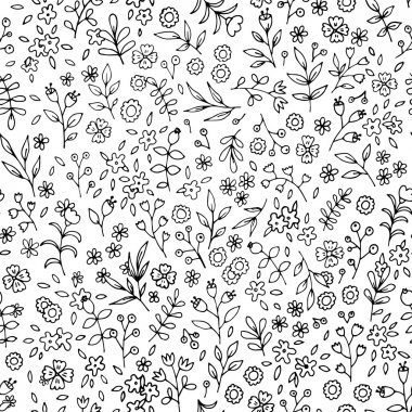 Black and white flower seamless pattern