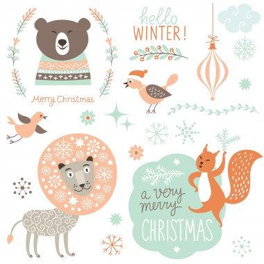 Set of cartoon characters and holidays elements