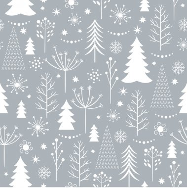 seamless gray Christmas pattern