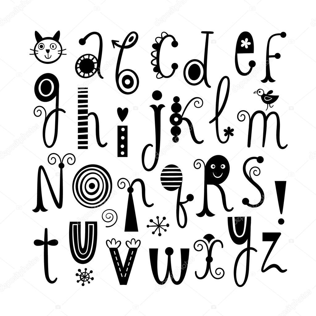 English Alphabet Cute Stylish Letters Vector By Birdhouse