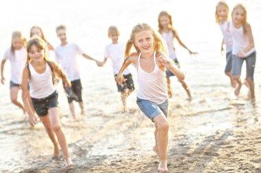 Portrait of children on the beach in summer stock vector