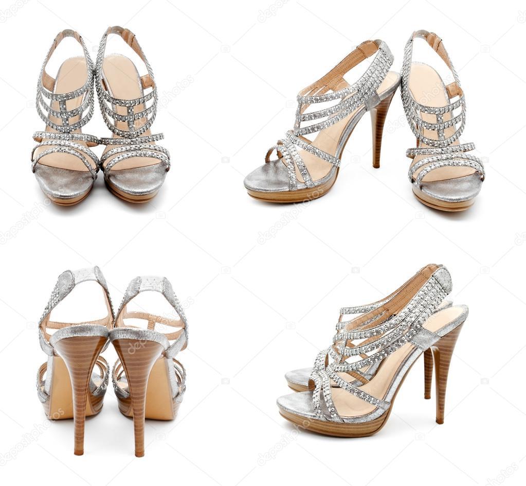 0d922cda3 Coleção de sapatos de mulheres de salto alto prata fotos — Fotografia de  Stock