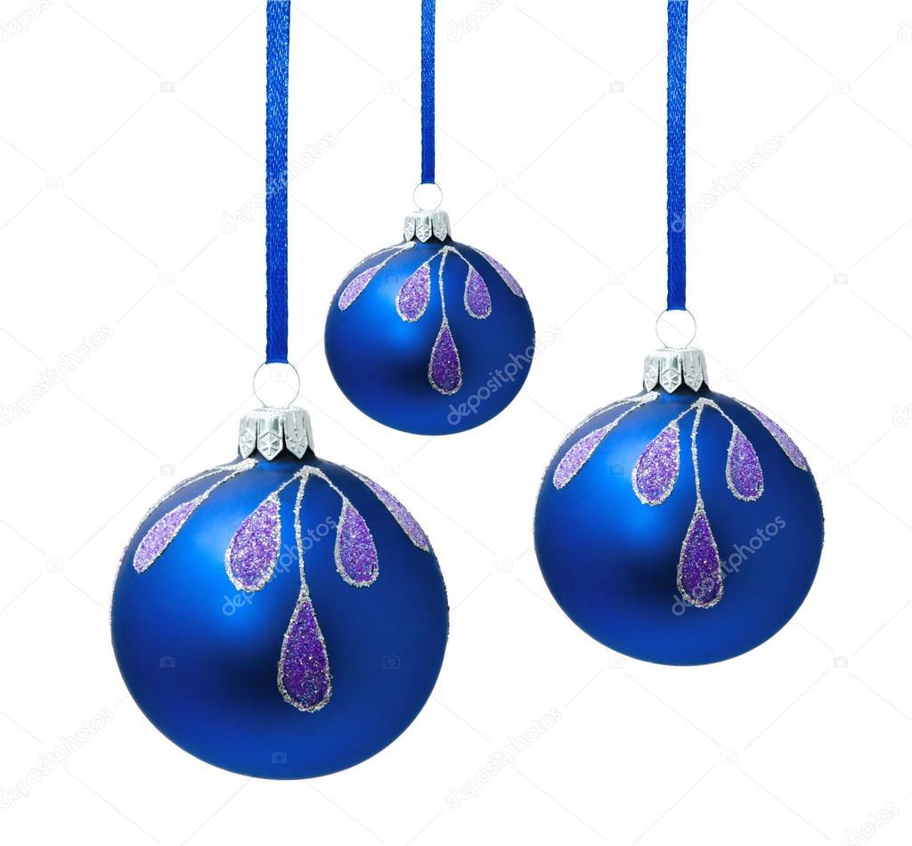 boules de no l bleu avec ruban isol photographie svetamart 56721099. Black Bedroom Furniture Sets. Home Design Ideas